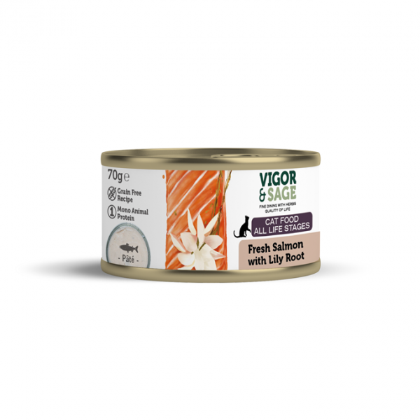 Våtfor til katt Lily Root & Fresh Salmon Cat Food 70 gr. boks